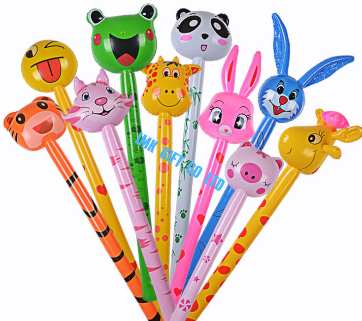 Cartoon Animal Inflatable Long Hammer No wounding weapon Stick Children Toys , cheering animal stick s,6P Pthalates free